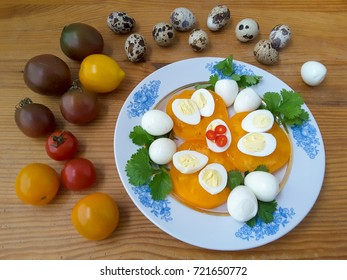 Quail eggs with vegetables paprika tomatoes cooking
