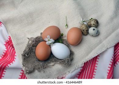 quail, fabric, textiles, eggs, easter,