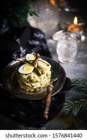Quail Olivier Salad, Russian salad, traditional Russian New Year's salad