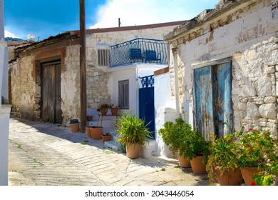 Quaint alleys in the Mountain village of Omodos in Cyprus