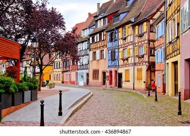 Quaint colorful houses of the Alsatian city of Colmar, France