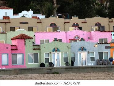 Quaint, colorful stucco houses, Capitola Beach, CA.