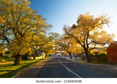 The quaint country town of Maldon in spring at sunset in Victoria, Australia