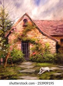 quaint english cottage house vines dog painting