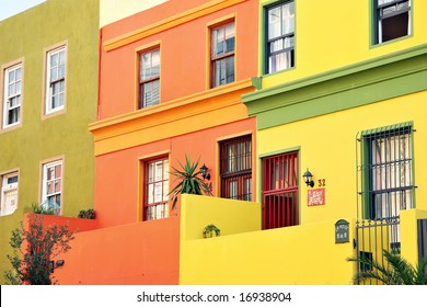 Quaint multicoloured urban rowhouses - landscape exterior