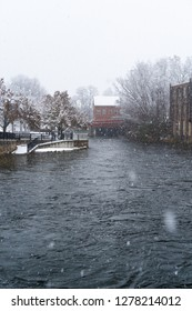 Quaint and snowy old New England town. A winter wonderland in Laconia, New Hampshire during the cold months
