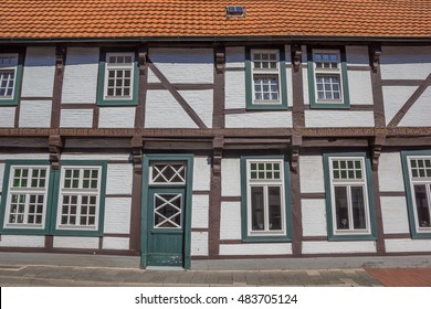 QUAKENBRUCK, GERMANY - AUGUST 25, 2016: Half timbered house in the historical center of Quakenbruck, Germany