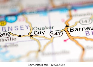Quaker City. Ohio. USA on a geography map