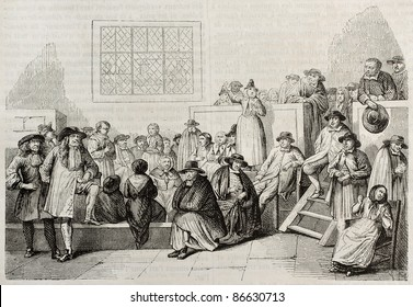 Quakers meeting in 18th century. After old engraving by unidentified author, published on Magasin Pittoresque, Paris, 1843