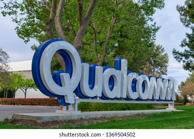 Qualcomm logo near Qualcomm Research Silicon Valley campus of San Diego based chip and semiconductor company - Santa Clara, California, USA - April 14, 2019