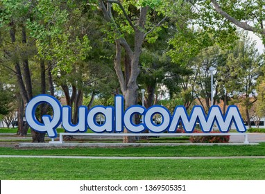 Qualcomm sign near Qualcomm Research Silicon Valley office of San Diego based chip and semiconductor company - Santa Clara, California, USA - April 14, 2019