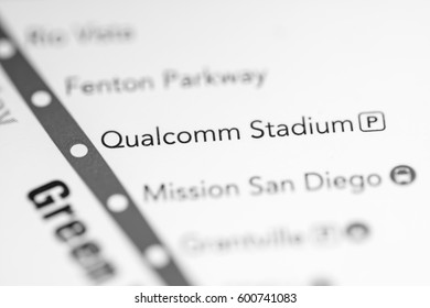 Qualcomm Stadium Station. San Diego Metro map.
