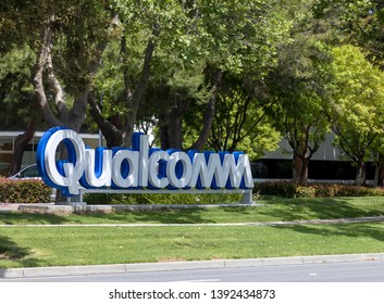 Qualcomm, SUNNYVALE, CA – May 5, 2019: An Image of Qualcomm signage in front of Qualcomm's Sunnyvale, California campus located in the heart of Silicon Valley.