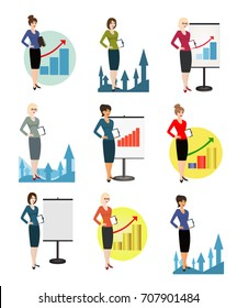 Qualified office workers on white background. Specialist in public relations, PR manager, skilled office employee, secretary, receptionist. Vertical location. Raster copy of vector illustration.