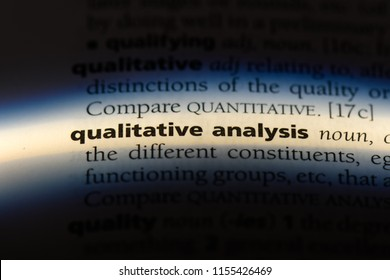 qualitative analysis word in a dictionary. qualitative analysis concept.