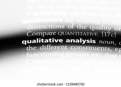 qualitative analysis word in a dictionary. qualitative analysis concept.