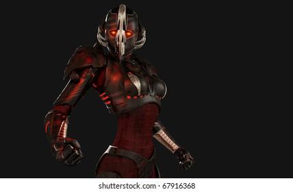 Quality 3d illustration of advanced cyborg character