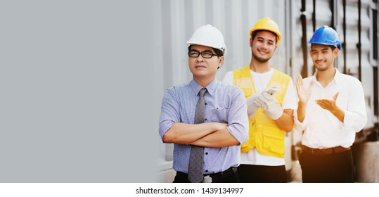 Quality contractor or construction teamwork. Safety concern for engineering or building work site or plant. Wearing helmet and protective equipment can safe workers life in industrial work or plant.