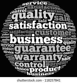 Quality Control info-text graphics and arrangement concept on white background (word cloud)