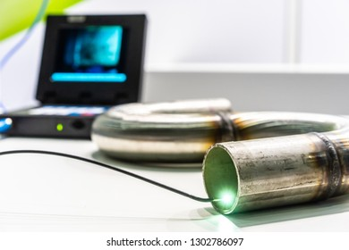 Quality control of metal welding. Check weld. Video endoscope. Investigated pipes with a video endoscope.