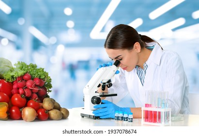 Quality control specialist inspecting food in laboratory
