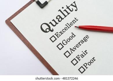Quality Excellent Good Average Fair Poor check boxes