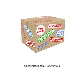 Quality (fine, superior) goods concept: cardboard (carton) box with stickers and stamps as symbol of quality standards, top-end goods and services, successful trade, production of commodities