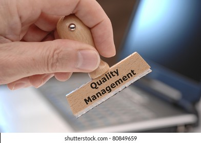 quality management marked on rubber stamp