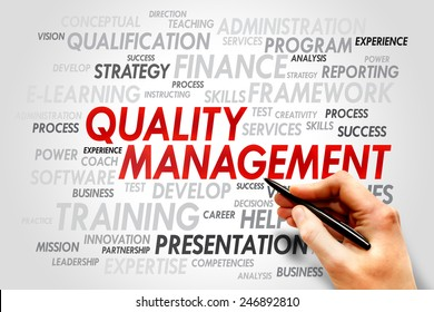 Quality Management word cloud, business concept