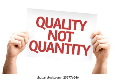 quality not quantity card isolated on white