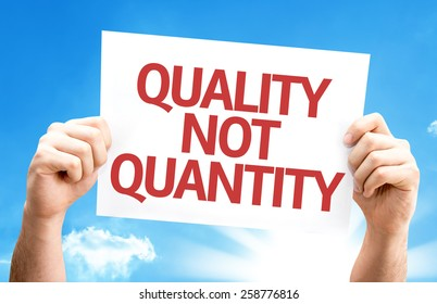 quality not quantity card with sky background