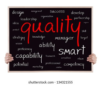 quality and other related words handwritten on blackboard with hands
