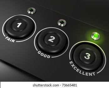 quality questionnaire over a black background with the words fair, good, and excellent, there is three buttons. The led on the right is light up. There is numbers on the buttons