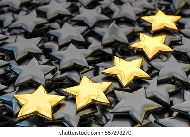 Quality rating, performance review, ranking, evaluation and classification concept, five golden stars shapes on black background, 3d illustration