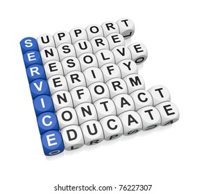 Quality service activities crossword on white background