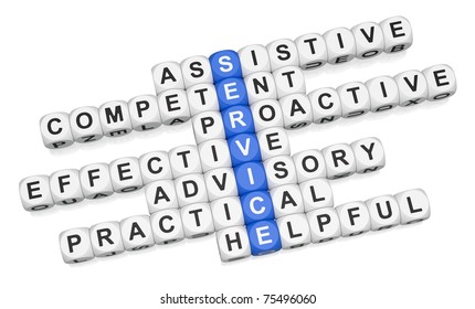 Quality service features crossword on white background 3d render