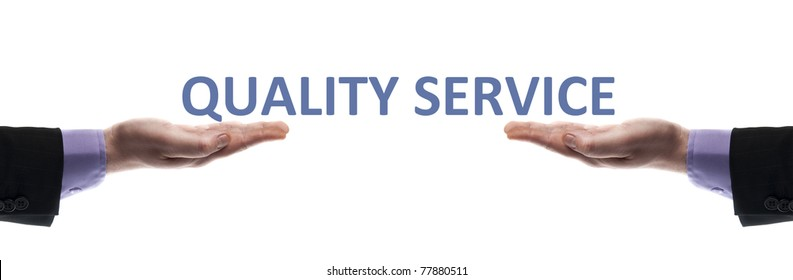 Quality service message in male hands