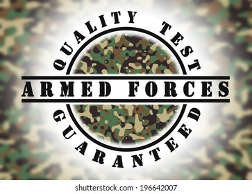 Quality test guaranteed stamp with a pattern inside, army camouflage