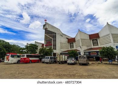 QUANG BINH, VIETNAM - JUL 14, 2017 - A corner of Dong Ha Market, Quang Binh, Vietnam