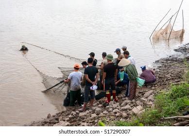QUANG NGAI, Vietnam, November 17, 2016 farmers, rural Quang Ngai, Vietnam, fishing. Where lakes