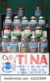 QUANG NGAI, VIETNAM - OCTOBER 25, 2009 : Various Types Of Vietnam Coffee Beans And Powders On Sale In A Shop In Midtown Quang Ngai