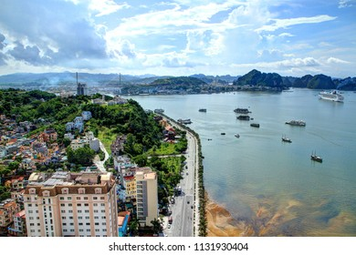 QUANG NINH, VIETNAM - 8 July 2014: Cityscape and sea view area in the scenic Ha Long Bay, Which was Northern Vietnam's number one-tourism hub. Halong bay which is UNESCO World heritage.