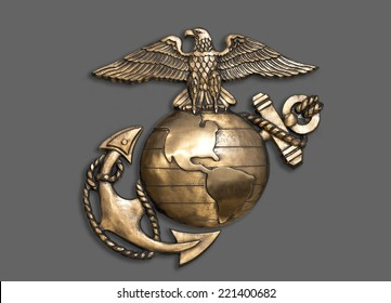 Quantico VA, - 2014  Insignia of the United States of America Marine Corp. It is called the  Globe and Anchor.