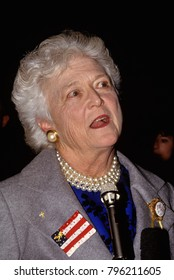 Quantico Virginia,  USA, 23rd, February, 1991 First Lady Barbara Bush attends service for military families at Quantico Marine Base in Virginia.