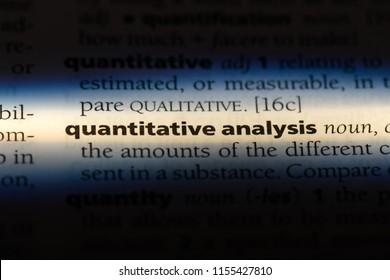 quantitative analysis word in a dictionary. quantitative analysis concept.