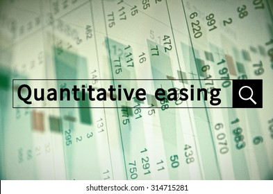 Quantitative easing written in search bar with the financial data visible in the background. Multiple exposure photo.