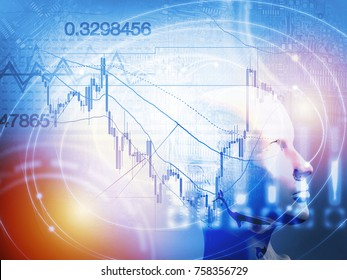 Quantitative stock and forex trading concept with artificial intelligence and machine learning