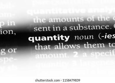 quantity word in a dictionary. quantity concept.