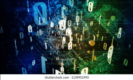 Quantum computing concept. Digital communication network. Technological abstract.