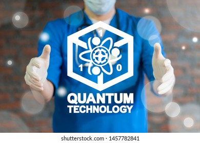 Quantum Computing Medical Technology. Qubit health tech concept. Doctor holds between hands virtual quantum icon with cube and atom.